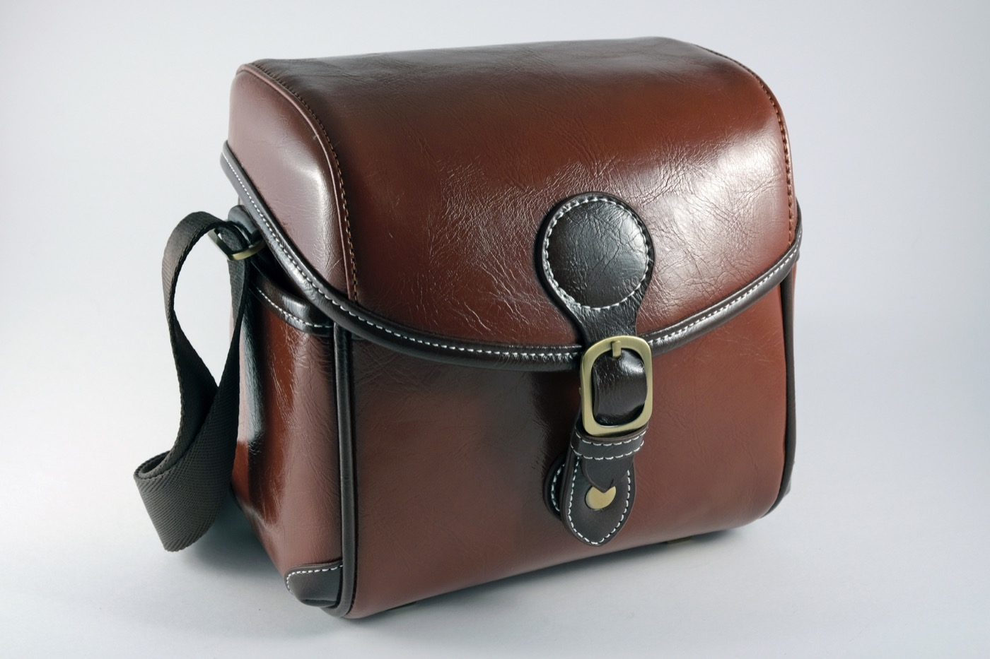 Brown leather camera bag